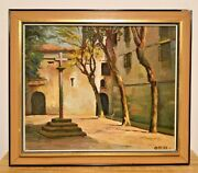 Antique Church Yard Oil Painting On Canvas 1920s - Signed By Oscar - Portugal