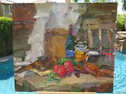 Impressionism Still Life Oil Canvas Fish Beer Real Painting Russia Art Signed Xl