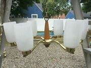 Vintage Mcm Chandelier And A Pair Of 2 Light Hanging Fixtures With Glass Shades