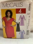 Mccalls 6032 Twist Front Flared Plus Dress Sewing Pattern V-neck,8-16 Or 18w-24w