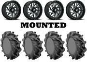 Kit 4 High Lifter Outlaw 3 Tires 35x9-20 On Fuel Triton Gloss Black Wheels Can
