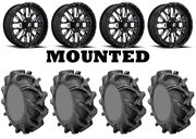 Kit 4 High Lifter Outlaw 3 Tires 35x9-20 On Fuel Stroke Gloss Black Wheels Fxt