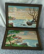 Vintage Completed Paint By Numbers Set Of Two Ocean Shores