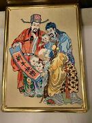 Rare Vintage Antique Victorian Chinese Completed Needlepoint Art