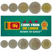 5 Sri Lanka Coins From South Asia Island Foreign Old Collectible Money Rupees