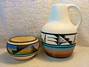 2 Pc. Ute Indian Pottery Water Jug Signed Lora Watts 37 Bowl Signed Ruth R 17