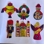 Hand Painted Tin Christmas Ornaments Set Of 6