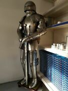 Genuine Medieval Knight Suit Of Templar W/sword Combat Full Body Armour Stand