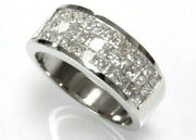 1.4 Ctw Natural Princess Diamond Solid 14k White Gold Invisible Set Unisex Ring