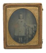 19th Century Ambrotype Tintype Gold Leather Frame Brittish Colonial
