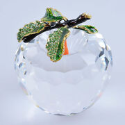80mm 3.15 W Clear Cut Crystal Apple Paperweight Wedding Christmas Gift