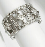 2.3 Ctw Natural Diamond Solid 14k White Gold Eternity Stackable Anniversary Ring