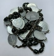 † Nun's 1800s Antique Stations Of The Cross Carved Bovine Rosary Chaplet 26 †