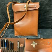 Rare Wwii Period German Brown Leather Map Case Ww2 Pencils Eraser Bromberg