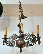 Antique Bronze Chandelier With A Pair Wall Scones Polen Luster 19th Century