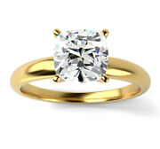 1.25ct Diamond Solitaire Engagement Ring Cushion Cut Fvs1 18k Yellow Gold