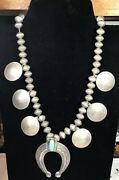 Vintage Sterling Silver And Coin Silver Squash Bloosom Necklace. 460 Grams