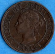 Canada 1891 Sd Ll 1 Cent One Large Cent Coin - Very Fine