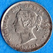 Canada 1900 Round '0' 5 Cents Five Cent Small Silver Coin - Ef Cleaned