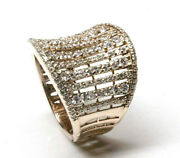 1.6 Ctw Natural Diamond Solid 14k Rose Gold Wide Waved Concave Statement Ring