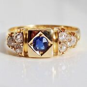 Stunning Antique Victorian 18ct Gold Sapphire And Diamond 0.30ct Ring C1900