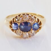 Stunning Antique Victorian 18ct Gold Sapphire And Diamond Cluster Ring C1892