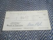 1962 Shelby American Signed Check To Cedar Rapids Engineering Check Number 12