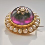 Antique Victorian 15ct Gold Amethyst Diamond And Pearl Domed Target Brooch C1865