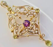 Antique Edwardian Suffragette 9ct Gold Amethyst Peridot And Pearl Pendant C1910