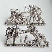 Rare Antique Victorian Silver Menu Holders Depicting Bear And Lion Hunting C1889