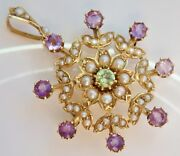 Antique Edwardian Suffragette 15ct Gold Peridot Amethyst And Pearl Pendant C1910