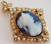 Antique Victorian 15ct Gold Hardstone Cameo Pendant C1890 With Pearl Set Border