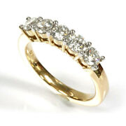 1 Ctw Natural Diamond Solid 14k Yellow Gold 5 Stone Engagement Anniversary Ring