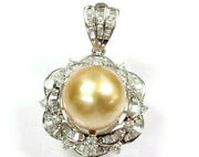 13 Mm Cultured Thick Nacre Pearl And Diamond Solid 14k White Gold Pendant 1.3
