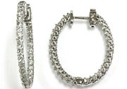 2.25 Ctw Natural Diamond Solid 14k White Gold Inside Out Hoop Earrings 30mm 1.2