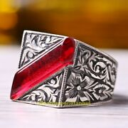 Turkish Jewelry 925 Sterling Silver Red Ruby Stone Elite Mens Ring Usa All Size