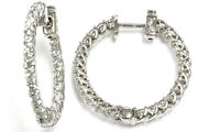 2.4 Ctw Natural Diamond Solid 14k White Gold Inside Out Hoop Earrings 26mm 1