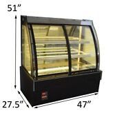 220v Refrigerated Bakery Showcase Front Open Cake Display Cabinet With Wheel