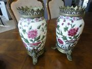 Pair Of Antique Zsolnay Pecs Porcelain Vase With Ormolu Mounts Old Mark Hungary