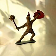 1963goldmarx Knights6marx Toysshield And Mace Medieval Action Figure Gold Red