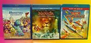 Blu-ray Dvd Lot 3 Movies Disney Monsters University Planes Fire Rescue + Narnia