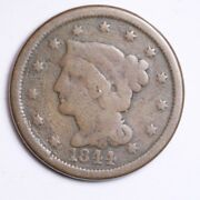 1844 Braided Hair Large Cent Choice Free Shipping E119 Rb