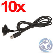 10x Black Usb Play N Charging Cable Cord For Xbox 360 Wireless Controller Pc