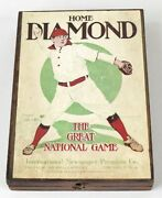 Circa 1913 Home Diamond, The Great National Game, Baseball Game In Wooden Box