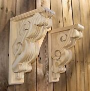 Pair Of 8 X 11-1/2 Victorian Design Wood Corbels - Unfinished 6108