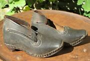 Original 18th Century Colonial Childs Shoes Clogs Wood And Iron Horseshoe Soles