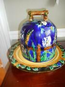 Vintage Minton Reproduction Cobalt Blue Majolica Beehive Cheese Dome And Plate