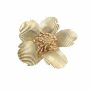 Rose Flower Brooch Pin 14k Yellow Gold 1960s Vintage Estate Jewelry