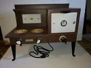 Vintage 1930's Empire Metalware Porcelain Tin Electric Toy Stove Oven, Pat 1924