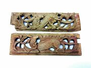 Pair Old Chinese China Carved Wood Dragon Red Paint Decorative Panels